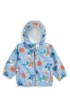 Mini Boden 'Tractors' Hooded Rain Jacket (Baby Boys & Toddler Boys)