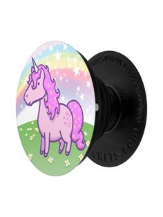 Trust Steve the Unicorn to keep your phone or tablet securely attached to nearly any surface with this colourful PopSocket! Featuring Steve a plump pink unicorn standing in a lush green pasture with a rainbow and stars shooting above him! Grindstore Exclusive Design.