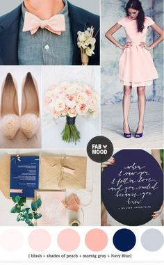 Navy blue and peach wedding colors palette – Add to favorites Today my love for all things pretty continues with this gorgeous mix of blush + shades of peach + gray and Navy blue. This is a first Navy blue and peach wedding colors palette at Fab Mood. I don't know why i haven't yet done on this blog before but I've seriously fallen in love with these colors. I think it work well in any season but i love it most for Winter and Spring weddings. For winter weddings i would add more...