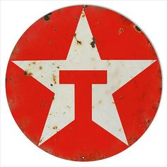 Texaco Star Red T Gas Station Sign, Aged Style Aluminum Metal Sign, 2 Sizes Available, USA Made Vintage Style Retro Garage Art by HomeDecorGarageArt on Etsy