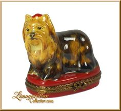Yorkshire Terrier on Red Base Limoges box by Beauchamp Limoges www.LimogesBoxCollector.com, dog collectibles, dog figurines
