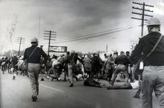 """Civil rights demonstrators struggle on the ground as state troopers use violence to break up a march on what is known as """"Bloody Sunday,"""" March Source: Alabama Department of Public Safety Activist Art, American Story, Political Art, Civil Rights Movement, Us History, Black History Month, Marine Corps, 50th Anniversary, Black People"""