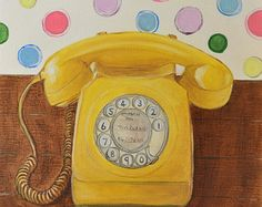 Original Oil Painting,Still Life Painting,Home Interior Painting,Vintage Telephone Painting,Retro,Yellow,Polka Dots,Canvas Painting,9x12
