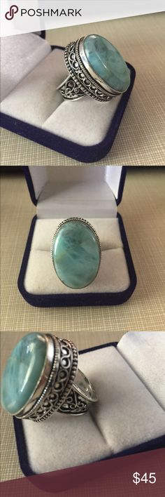Beautiful Caribbean larimar design ring Beautiful antique designer size 7 main gemstone size is 19/26 mm silver stamped 925 inlay pls see Picts NWOT Jewelry Rings
