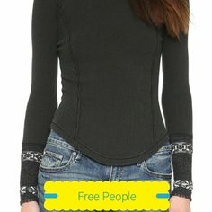 Brand new beautiful Free People knit cuff thermal Super pretty Free People charcoal grey thermal long sleeve with gorgeous knitted cuff detail. Super stretchy and soft, size xsmall, true to size. No PayPal or trades. Sold out style. Free People Tops