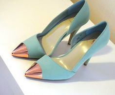 pastel blue cap toe heels