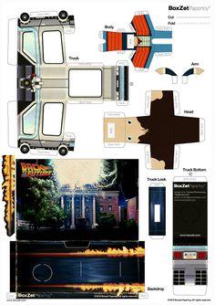 Back to the Future Paper Model Car, Paper Car, Paper Plane, Paper Toys, Back To The Future Party, Free Paper Models, Bttf, 3d Puzzles, Origami Tutorial