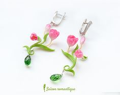 Earrings Spring Spirit  Polymer Clay Flowers by SaisonRomantique