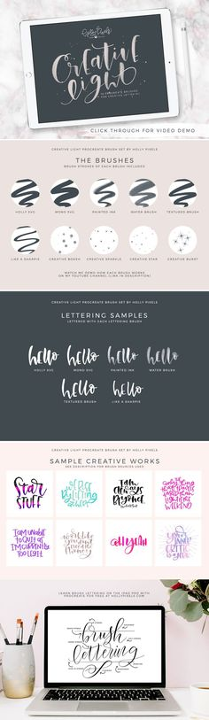 Get creative and artsy with these Procreate Brushes called Creative Light by Holly Pixels. #procreate #ipadlettering #procreatelettering #handlettering #lettering #brushlettering #hollypixels #creativemarket #procreatebrushes #procreatebrush
