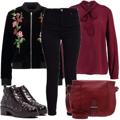 Look per tutti i giorni adatto per la scuola o per il tempo libero. Camicia con fiocco di un rosso scuro abbinata a dei jeans in modello skinny neri, giubbotto bomber romantico con dettagli in fantasia floreale, stivaletti stringati con applicazioni di fiorellini a rilievo, tracolla.
