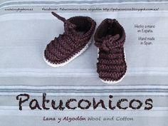 """Patuconicos modelo """"ataditas rayadas"""" en algodón rústico. Color Marron chocolate y suela arena. Tallas: 0-3 meses y 3-6 meses. Precio 12€ (gastos de envio no incluidos).    https://www.facebook.com/pages/Patuconicos-lana-y-algodón/133197553517428?ref=hl http://patuconicos.blogspot.com.es/search/label/patucos"""