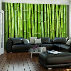 Imitation of a Bamboo Wall x Wallpaper East Urban Home Star Wallpaper, Embossed Wallpaper, Wall Wallpaper, Architectural Design House Plans, Tile Panels, Bamboo Wall, Fabric Textures, Hazelwood Home, Home Art