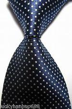 Classic Checks Dark Blue White Jacquard Woven 100 Silk Men S Tie Necktie for sale online New Mens Fashion, Mens Fashion Suits, Formal Tie, Proper Attire, Tie And Pocket Square, Pocket Squares, Elegant Man, Tie Styles, Blue And White