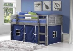 ★ Buy our Amherst Low with blue tent in antique grey by Donco Trading kids bedroom furniture ★ Solid Wood grey finish loft bed with blue curtains for children Kids Beds With Storage, Bed Storage, Storage Area, Low Loft Beds For Kids, Kid Beds, Bunk Beds, Race Car Bed, Teen Boy Bedding, Casa Loft