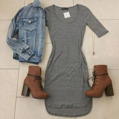 fall outfit inspirations. grey dress and jean jacket with high heeled brown boots.
