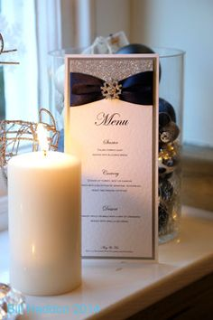 Navy & Silver Winter Wedding Stationery | The Cinderella Collection - Menu Card | Featuring silver glitter, navy ribbon and diamanté snowflake embellishment | Luxury handmade wedding invitations and stationery #byenchanting