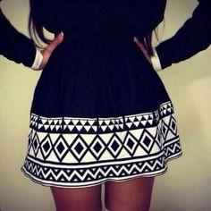 Black And White Geometric Pattern Skirt
