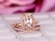 Cushion Morganite Engagement Ring Sets Pave Diamond Wedding 14K Rose Gold 7x9mm - 6.25 / 14K Yellow Gold