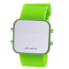 Watch dimensions: - Body: 42 x 40 x 10 mm. - Bracelet: Length-200 mm with 10 holes for wrist adjustment. Color: Green.  What's In The Box: 1 * Gr ...  $1.02