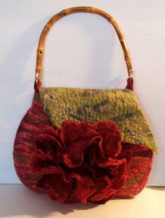 Valentines Rosa  Felted Wool bag  Purse OOAK by beatassoul on Etsy, $79.00
