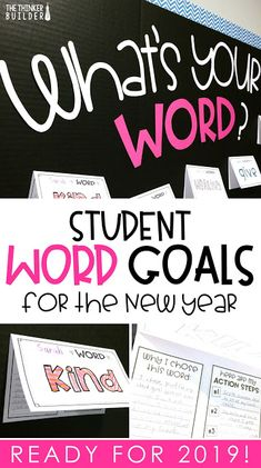 """What's Your Word?"" Student Word Goals Get students setting focused, one-word goals for the new year! Like a New Year's resolution, but more powerful, simple, and with a cooler bulletin board. (The Thinker Builder) New Years Activities, Classroom Activities, Classroom Ideas, Educational Activities, Educational Thoughts, Seasonal Classrooms, Educational Psychology, Counseling Activities, English Activities"