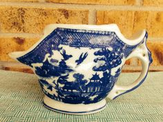 Vintage Victoria Ironstone Shaving Mug - Transferware Flow Blue - Blue Willow Pattern on Etsy, $32.95