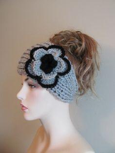 6f78d511c477 Grey Black Flower Headbands Earwarmers Crochet Chunky Knit Fall Winter  Accessories Headcovers Womens Girls Knit Headwraps