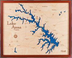 Lake Anna|Wood Chart|Wood Map|Art|Virginia|Lake House Art|Laser Etched|Gift|Nautical Decor|Wedding|Anniversary|Housewarming|Birthday|Travel