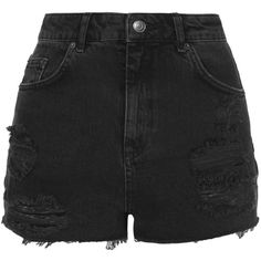 TopShop Moto Black Ripped Mom Shorts (¥4,205) ❤ liked on Polyvore featuring shorts, bottoms, pants, short, washed black, torn shorts, short shorts, ripped shorts, distressed cut off shorts and cutoff shorts