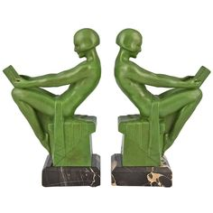 Art Deco Bookends Reading Ladies by Max Le Verrier 1930   From a unique collection of antique and modern bookends at https://www.1stdibs.com/furniture/more-furniture-collectibles/bookends/