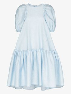 Shop Cecilie Bahnsen Alexa puff sleeve midi dress from our Day Dresses collection. Blue Midi Dress, Tulle Dress, Gowns With Sleeves, Short Sleeve Dresses, Wide Leg Denim, Shearling Jacket, Asymmetrical Tops, Smock Dress, Color Azul