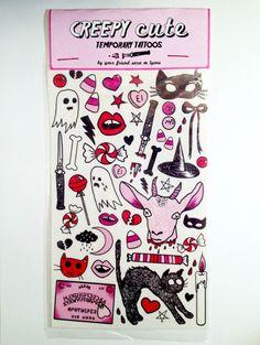CREEPY CUTE temporary tattoo pack by saramlyons on Etsy, $20.00