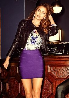 Irina Shayk stars for the Bebe Fall/Winter 2014 Campaign Irina Shayk, Top Models, Love Fashion, Fashion Outfits, Womens Fashion, Wholesale Prom Dresses, Bcbg, Bandage Skirt, Purple Skirt
