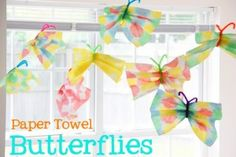 hand-made paper towel or coffee filter butterflies   @Blair R Becker - fun for a party for Quinn :)