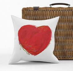 Pillow, cushion cover Velveteen or Canvas original drawing Colourful Heart drawing Canvas Fabric, Pillow Covers, Upholstery, Vibrant, Throw Pillows, The Originals, Sewing, Drawings, Decor