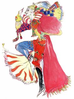 Kefka Palazzo from Final Fantasy VI as drawn by Yoshitaka Amano.