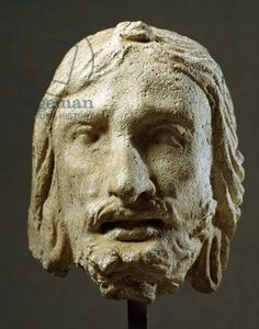 Ascetic head, plaster sculpture, from Hadda, near Jalalabad, Afghanistan, Greek-Bactrian Civilisation, 4th century