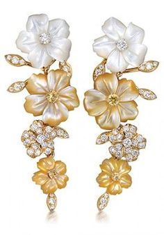 PRIMAVERA EARRINGS by Padani   Gold with white and yellow mother-of-pearl…