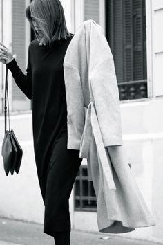 Long coat, maxi dress & mini crossbody bag #style #fashion