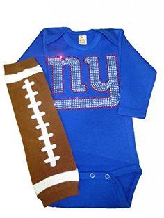 FanGarb Baby New York Giants Long Sleeve Crystal Bodysuit-0-3mo / football Leg Warmers