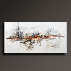 "48"" Large ORIGINAL ABSTRACT White Gray Black Orange Brown Painting on Canvas Contemporary Abstract Modern Art wall decor Unstretched - ABF38 by itarts on Etsy"
