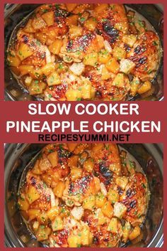 Slow Cooker Pineapple Chicken This recipe is very delicious, you will definitely. - Slow Cooker Pineapple Chicken This recipe is very delicious, you will definitely enjoy it! Slow Cooking, Slow Cooked Meals, Crock Pot Slow Cooker, Cooking Recipes, Healthy Recipes, Yummy Recipes, Meal Recipes, Slow Cooker Party Recipes, Slow Cooker Recipes Family