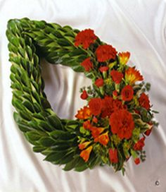 Laurel chaplet Sympathy Plants, Sympathy Flowers, Funeral Flower Arrangements, Funeral Flowers, Bereavement Flowers, Fresh Flowers, Pretty Flowers, Casket Sprays, Funeral Tributes