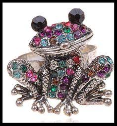 "Selling this ""Bling multi crystal frog ring"" in my Poshmark closet! My username is: boutiqueofthing. Turtle Jewelry, Frog And Toad, Trendy Jewelry, Black Crystals, Vintage Earrings, Crystal Rhinestone, Belly Button Rings, Bling, Cool Stuff"