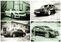 Set of 11 postcards Auto cars illustrations drawing gift (Audi BMW Hummer Merc