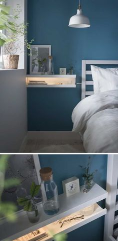 A DIY nightstand made from two MOSSLANDA picture ledges stacked on each other like an open mouth with an LED strip inside bedroom decor diy IKEA picture ledge hacks Mosslanda Picture Ledge, Ikea Picture Ledge, Picture Ledge Bedroom, Ikea Pictures, Bedroom Pictures, Hang Pictures, Bedroom Hacks, Ikea Bedroom, Bedroom Furniture