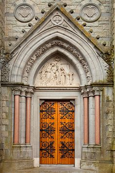 Door at St. Coleman's Cathedral, Cobh, County Cork, Ireland