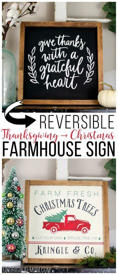 Make a double-sided reversible Thanksgiving-Christmas farmhouse style sign! Plus there's a free cut file to make the Christmas Tree Farm sign with your Silhouette! #freecutfile #christmastreefarmsign #farmhousesign #christmasdecor #thanksgivingfarmhousesign #silhouette #myhandmadechristmas
