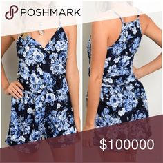 Obsessed with this blue floral romper!  Ultra spring romper features floral print all over and a sweetheart neckline. Perfect with flat gladiators or sandals- nice length- excellent stretch and recovery in this piece in multiple shades of pretty blue! Pants Jumpsuits & Rompers