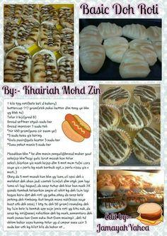Basic roti Bread Recipes, Cake Recipes, Cooking Recipes, Resepi Donut, Pastry Design, Roti Recipe, Baking Breads, Bread Bun, Bento